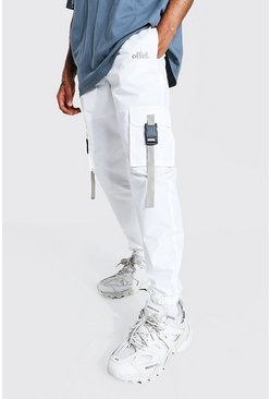 White Offcl Cargo Trouser With Straps