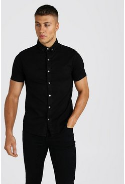 Black Muscle Fit Short Sleeve Denim Shirt