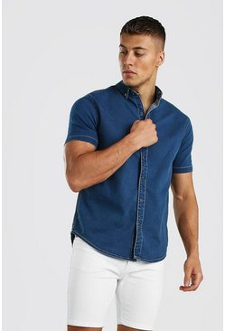 Light blue Muscle Fit Short Sleeve Denim Shirt