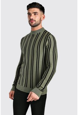 Khaki Turtle Neck Long Sleeve Stripe Knitted Jumper