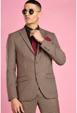 Taupe Skinny Heritage Dogtooth Check Suit Jacket