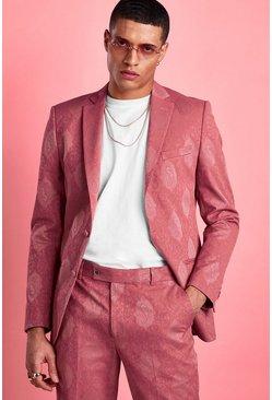 Pink Skinny Tonal Floral Suit Jacket