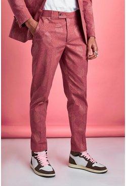 Pink Skinny Tonal Floral Suit Pants