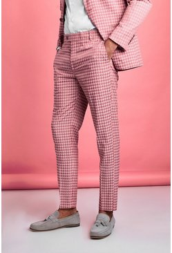 Pink Skinny Tonal Dogtooth Check Prom Suit Trouser