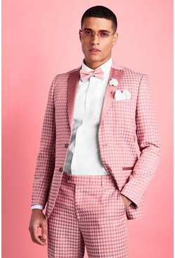 Pink Skinny Tonal Dogtooth Check Prom Suit Jacket