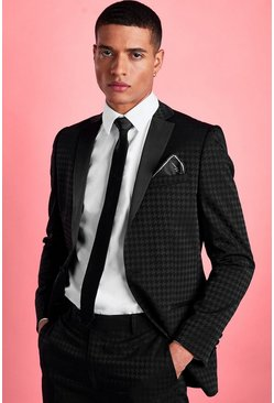 Black Skinny Tonal Dogtooth Check Suit Jacket
