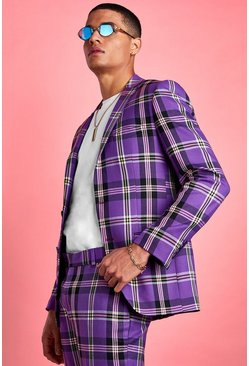 Purple Skinny Bold Check Suit Jacket