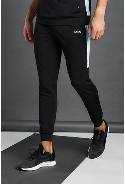 Pantalon de jogging skinny poly à empiècement MAN Active, Noir