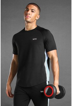 Black MAN Active Poly Raglan T-Shirt With Panelling