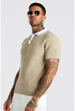 Taupe Muscle Fit Knitted Polo With Contrast Collar