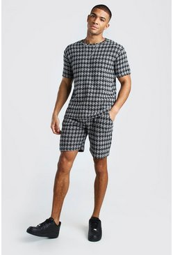 Black Knitted Houndstooth Tee & Short Set