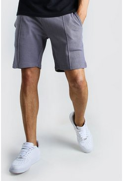 Dusty blue MAN Signature Pique Slim Fit Pintuck Shorts