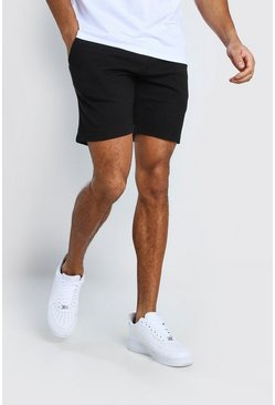 Black MAN Signature Pique Mid Length Short