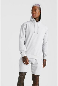 Light grey Pique Hooded Short Tracksuit