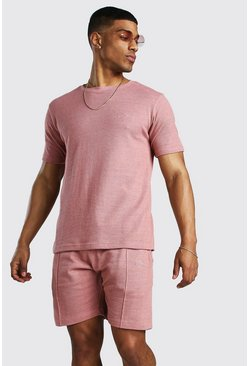 Dusky pink MAN Signature Pique T-Shirt & Short Set