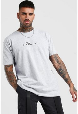 Grey Oversized MAN Signature T-Shirt