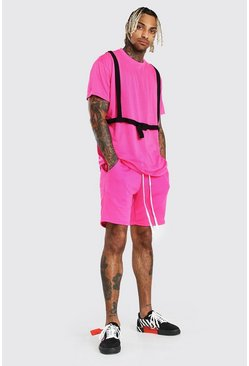 Neon-pink MAN Official T-Shirt & Short Set With Harness