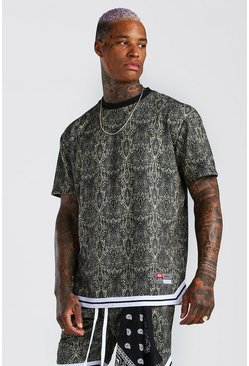 Brown Snake Print Loose Fit T-Shirt & Short Set