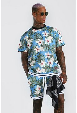 Blue Palm Print Loose Fit T-Shirt & Short Set