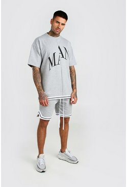 Ensemble t-shirt et short coupe oversize MAN, Gris