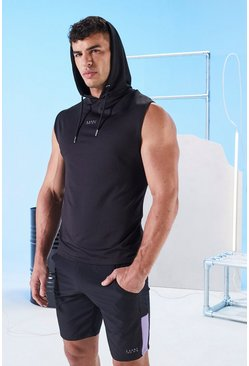 Black His Active Sleeveless Hoodie