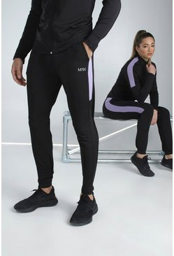 Black His Active Skinny Fit Jogger With Side Panel