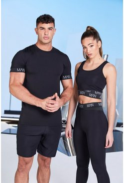 His Active Muscle Fit T-Shirt mit Ärmel-Detail, Schwarz