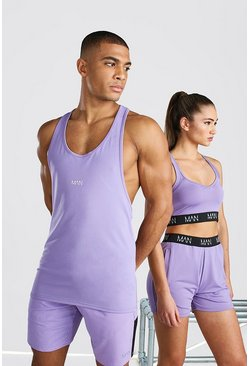 Purple His Active Racer Back Tank Top With Scoop Neck
