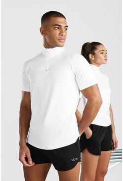 White His Active Raglan Short Sleeve Funnel Top