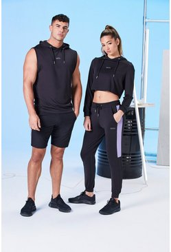 Black His Active Mid Length Short With Panel Detail