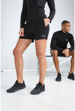 Black Hers Active Mid Length Short With MAN Waistband