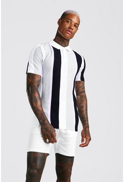 Grey Muscle Fit Vertical Stripe Textured Knit Polo