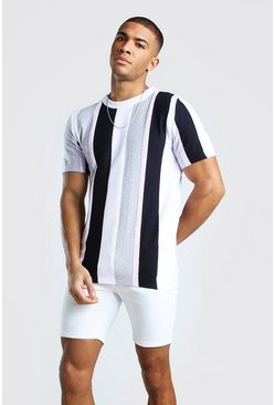 Grey Muscle Fit Vertical Stripe Textured Knitted T-Shirt