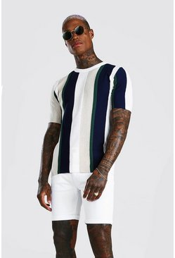 Ecru Muscle Fit Vertical Stripe Textured Knitted T-Shirt