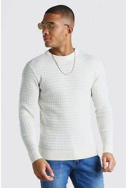 Ecru Long Sleeve Muscle Fit Cable Knit Smart Sweater
