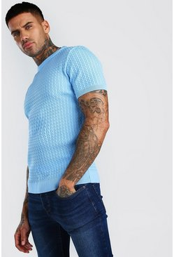 Dusty blue Short Sleeve Muscle Fit Cable Knit T-Shirt