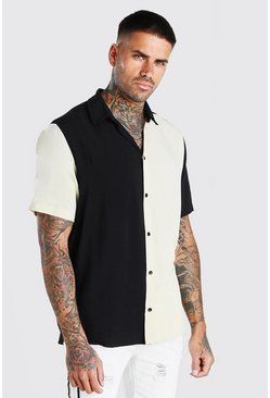 Stone Short Sleeve Colour Block Shirt