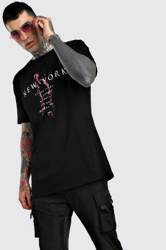 Black Oversized New York Print T-Shirt