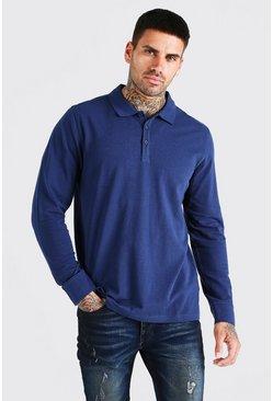 Navy Long Sleeve Pique Polo