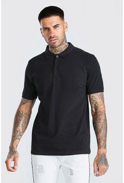Black Short Sleeve Pique Polo
