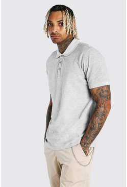 Grey Short Sleeve Pique Polo