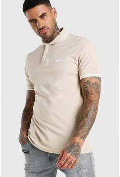 Taupe Crown Embroidered Tipped Pique Polo