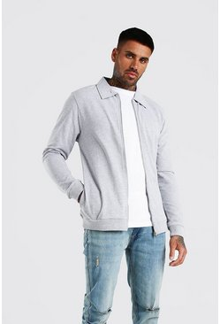 Grey Pique Harrington Jacket