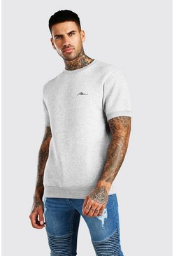 Grey MAN Signature Embroidered Short Sleeve Sweatshirt