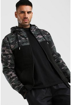 Black Zip Thru Camo Colour Block Hoodie
