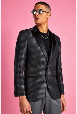 Black Skinny Dogtooth Check Prom Jacket