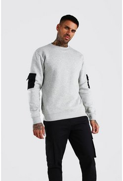 Grey Colour Block Utility Sweatshirt