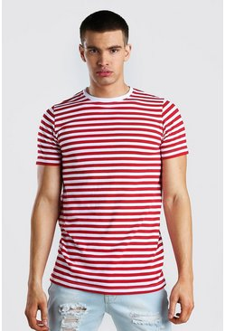 Red Longline Horizontal Yarn Dyed Stripe T-Shirt