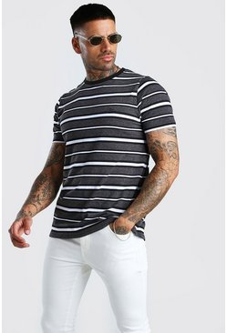 Black MAN Signature Horizontal Stripe T-Shirt