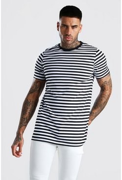 Black Longline Horizontal Yarn Dyed Stripe T-Shirt
